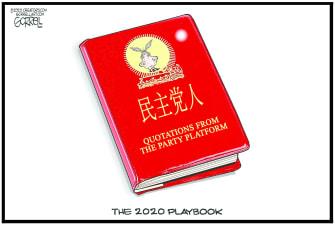 Political Cartoon U.S. Democrats China red book