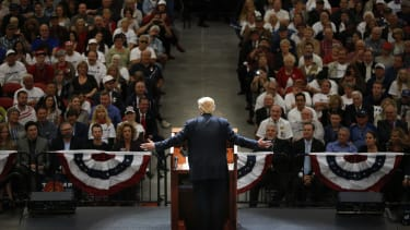 Donald Trump addresses his supporters during the 2016 campaign.