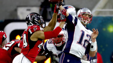 Tom Brady of the New England Patriots throws the ball during Super Bow LI.