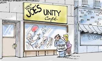 Political Cartoon U.S. biden trump voters unity