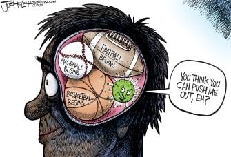 Editorial Cartoon U.S. sports coronavirus