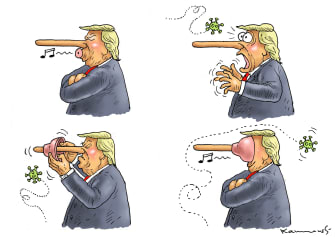 Political Cartoon U.S. Trump Pinocchio coronavirus