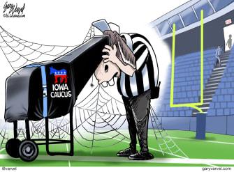 Political Cartoon U.S. Democrats Iowa Caucus Super Bowl cobwebs delay referee
