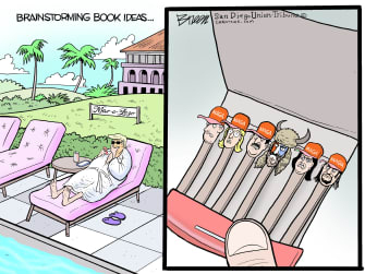 Political Cartoon U.S. Trump book