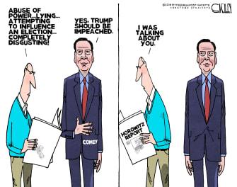 Political Cartoon U.S. James Comey FBI Abuse of Power