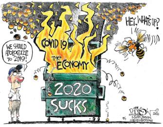 Editorial Cartoon U.S. 2020 coronavirus economy murder hornets