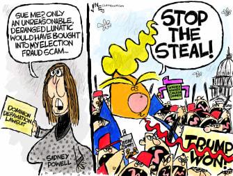 Political Cartoon U.S. sidney powell dominion lawsuit trump capitol riot