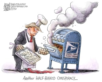 Political Cartoon U.S Trump Attack USPS Postal Service Mail-in Voter Fraud