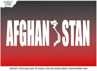Political Cartoon U.S. Afghanistan War Government Lies Vietnam