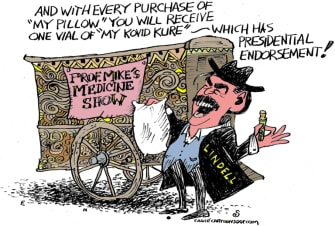 Editorial Cartoon U.S. Mike Lindell MyPillow snake oil covid