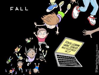 Editorial Cartoon U.S. schools remote learning coronavirus
