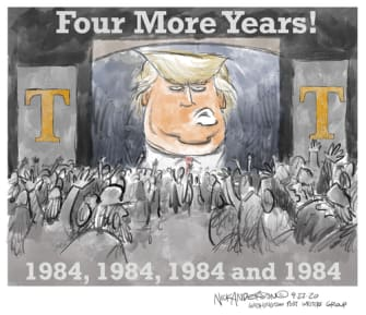 Political Cartoon U.S. Trump 1984 four more years