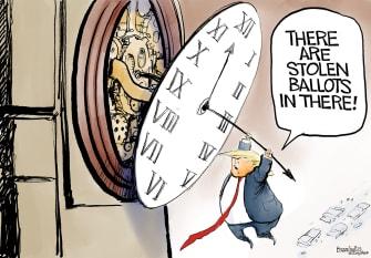 Political Cartoon U.S. Trump election loss ballots