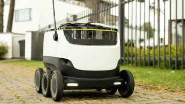 A robotic delivery service makes its debut.