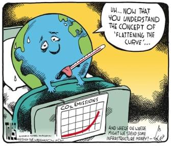 Editorial Cartoon World flatten global warming curve CO2 emissions