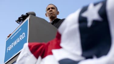 Barack Obama speaks during a campaign event.