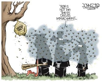 Political Cartoon U.S. Trump Soleimani Killing Hornet Nest Impeachment Distraction