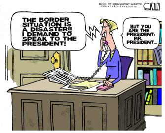 Political Cartoon U.S. biden migrant border