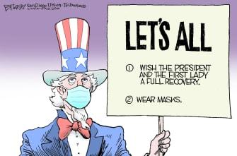 Editorial Cartoon U.S. Trump COVID masks