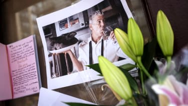 A memorial to Anthony Bourdain.