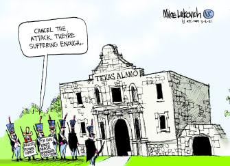 Editorial Cartoon U.S. texas alamo mask mandate storms