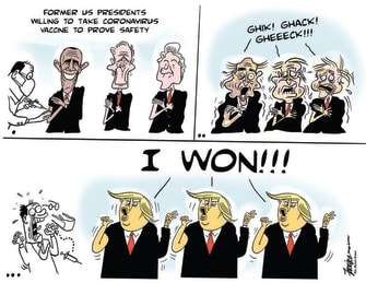 Political Cartoon U.S. Trump Bush Clinton Obama COVID vaccine