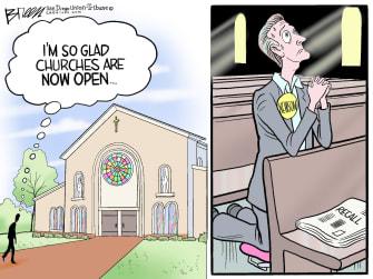 Political Cartoon U.S. gavin newsom recall church