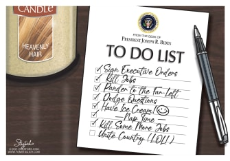 Political Cartoon U.S. Biden to do list