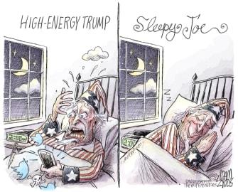 Political Cartoon U.S. trump biden twitter sleepy joe