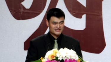 Yao Ming announces his retirement during a press conference in Shanghai on Wednesday: The NBA star missed the entire 2009-2010 season due to a stress fracture in his foot, and played only 5 g