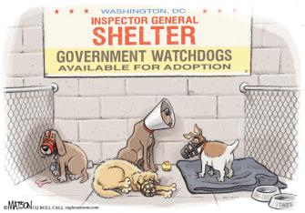 Political Cartoon U.S. government watchdog Trump firings