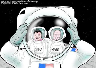 Editorial Cartoon U.S. china russia nasa space