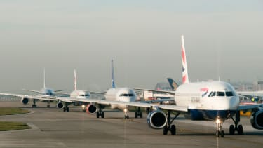 Airplanes queuing for takeoff.
