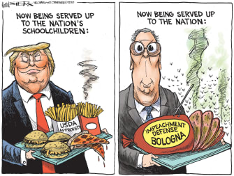 Political Cartoon U.S. Trump Mitch McConnell impeachment school lunches bologna lies