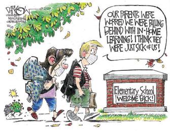 Editorial Cartoon U.S. remote learning COVID