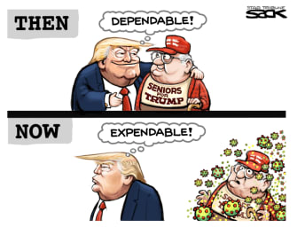 Political Cartoon U.S. Trump seniors expendable coronavirus