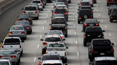 Cars stuck in Los Angeles traffic.