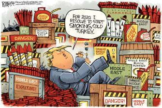 Political Cartoon U.S. Trump Middle East 2020 Smoking Cold Turkey Iran