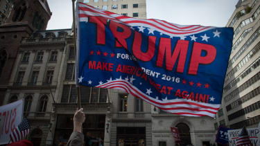 Trump supporters rally outside Trump Tower.