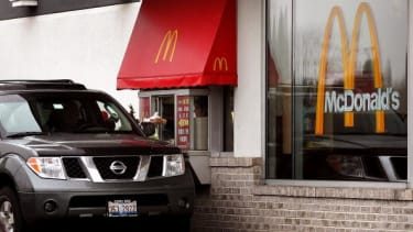A McDonald's drive-thru window.