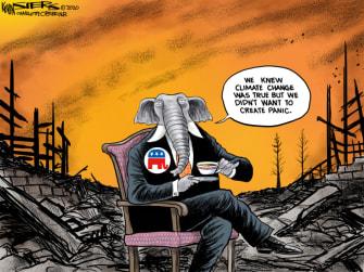 Political Cartoon U.S. GOP Trump climate change wildfires