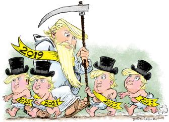 Political Cartoon U.S. Trump reelection new years 2020