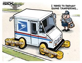 Political Cartoon U.S. Trump USPS mail in voting