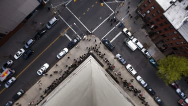 People line up for a job fair in New York.