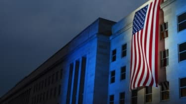 A memorial flag marks the spot where a plane flew into the Pentagon on 9/11.