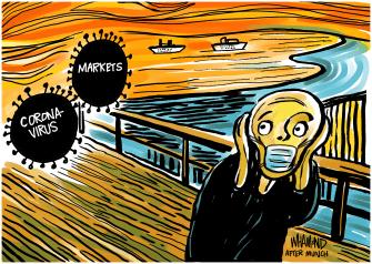 Editorial Cartoon U.S. Trump The Scream Edvard Munch coronavirus painting
