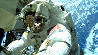 An astronaut outside the International Space Station (ISS)