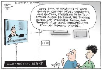 Editorial Cartoon U.S. Economic Report Unemployment EvictionDeficits Racism