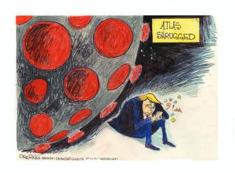 Political Cartoon U.S. Trump coronavirus atlas shrugged twitter