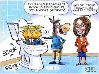 Political Cartoon U.S. Impeachment Toilet Humor